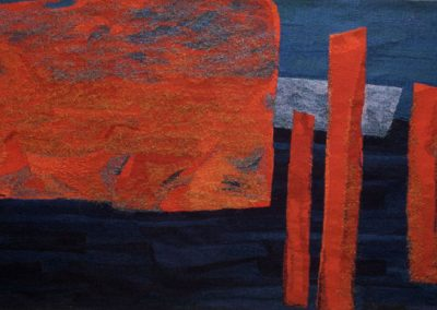 Fiona Hutchison, Harbour Pillars - Woven Tapestry, 210cm x 120cm, 1999. Sold - Private Collection