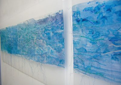 Fiona Hutchison, Mixed Media. North Sea Paper - Painted and stitched paper, 2 panels 30cm x 135cm, 2008.