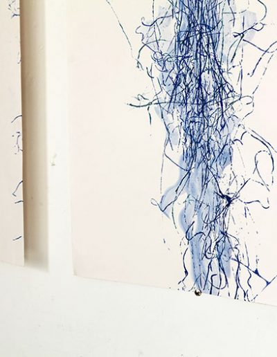 Fiona Hutchison, Drawing with ink and thread (detail), 2018.