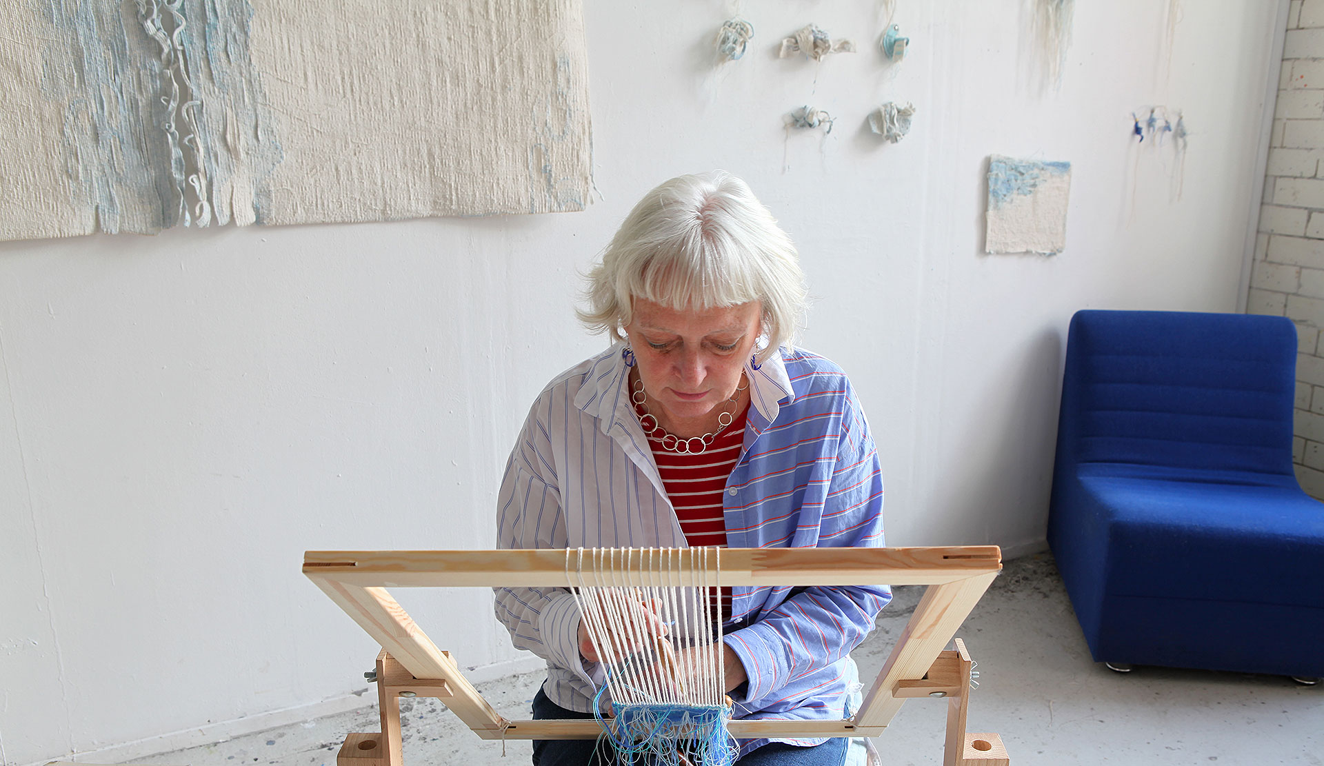 Fiona Hutchison, Tapestry Artist at work in her studio