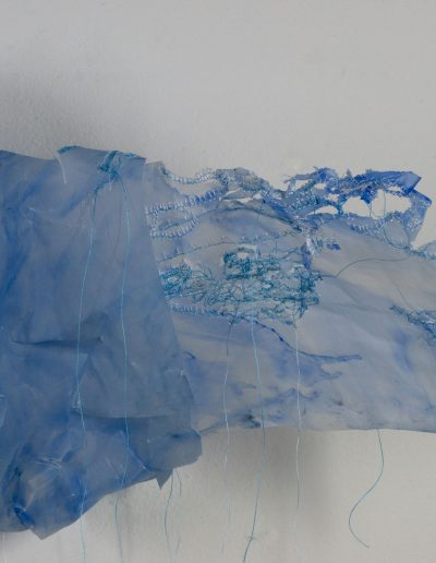 Clouds, stitched and manipulated tracing paper