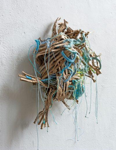 Fiona Hutchison, Shredded Knot, 2021, 30cm x 30cm, Shredded cardboard and tapestry